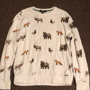 Forever 21 fox bear dear duck white pullover